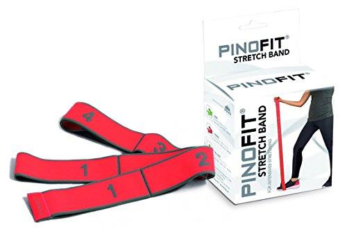 PINOFIT® Stretch Band Gymnastikband in 3 Farben und Stärken Therapieband (Rot = Mittel)