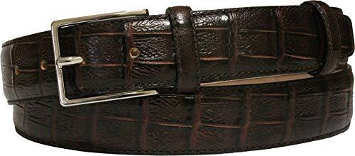 ESPERANTO Cinturón de piel de becerro estampado con cola de cocodrilo de 35 mm, forro de piel vacuno (Marrón Oscuro, 50-MISURA TOTAL 125 CM-CONEXION 110 CM)