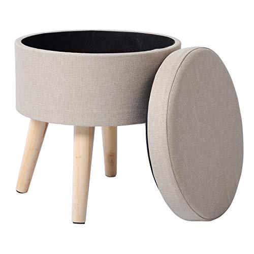WOLTU Sitzhocker mit Stauraum Fußhocker Aufbewahrungsbox, Deckel Abnehmbar, Gepolsterte Sitzfläche aus Leinen, Massivholz, Cremeweiß, SH08cm-1