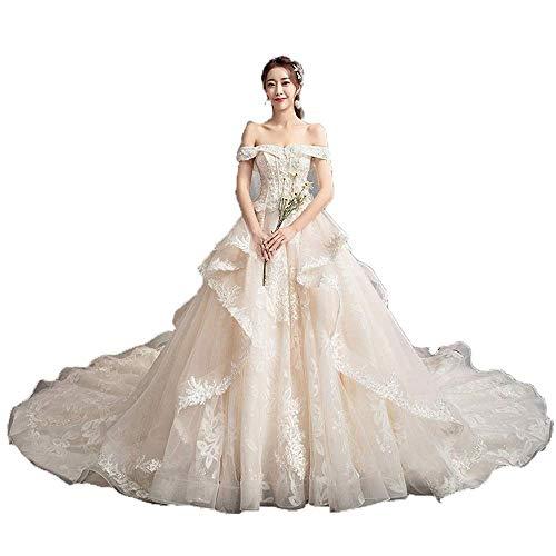 W-D Frauen Quinceanera Kleider Schulterfrei Perlen Spitze Appliques Lange Zug Braut Kleid Brautkleid für Hochzeit, Champagner, XX-groß