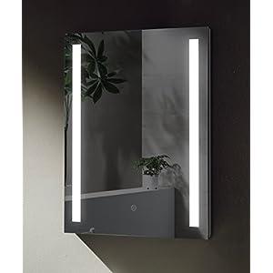 SGSpiegel Badspiegel mit seitlicher LED Beleuchtung, Badezimmerspiegel 70x50cm, Lichtfarbe Weiß, Energieklasse A+