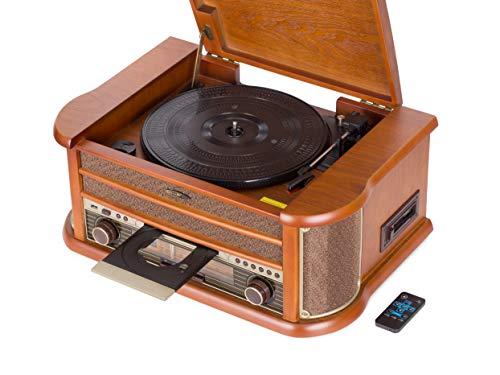 Reflexion HIF2002 Retro Stereo-Anlage mit Plattenspieler, Kassette, CD-Player und Radio (UKW / MW, CD / MP3, USB, beleuchtetes LCD-Display, Fernbedienung, 2x40 Watt Musikleistung), braun
