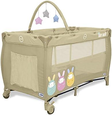 Asalvo Complet Duo C16 - Cuna de viaje plegable con bolsa de transporte, diseño Baby Rabbit, color beige