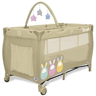 Asalvo Complet Duo C16 – Cuna de viaje plegable con bolsa de transporte, diseño Baby Rabbit, color beige