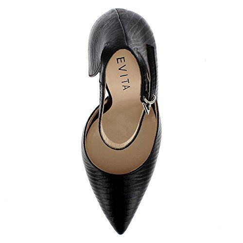 LISA escarpins femme cuir gaufré Noir
