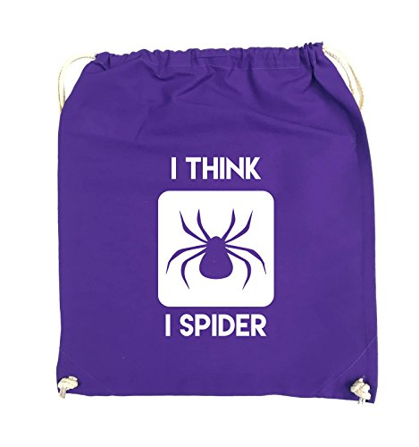 Comedy Bags - I THINK I SPIDER - Turnbeutel - 37x46cm - Farbe: Schwarz / Pink Lila / Weiss