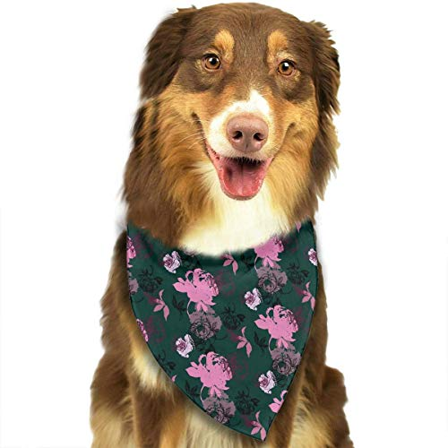 Gxdchfj Purple and Pink Flowers On A Black Background Fashion Dog Bandana Pet Accessories Easy Wash Scarf -