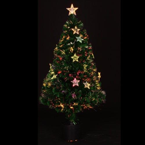 Albero di Natale artificiale in fibra ottica con vaso + stelle luminose, altezza: (Vaso Albero Di Natale)
