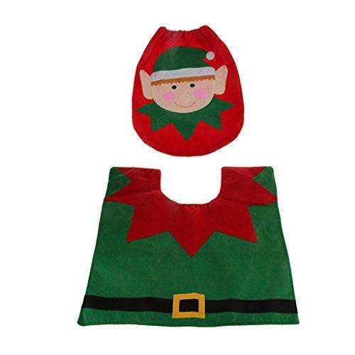 MagiDeal Weihnachten Dekor 3pcs Badgarnitur Set WC Sitzbezug Toilettensitzabdeckung mit Matte Teppich