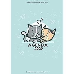 Agenda 2020: Tema Gatos Agenda Mensual y Semanal + Organizador I Enero a Diciembre 2020 A4