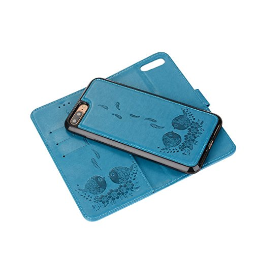 Embossing Bird Pattern PU Ledertasche mit abnehmbarem Back Cover, Flip Stand Wllet Tasche mit Lanyard & Card Slots für iPhone 7 Plus ( Color : Rosegold ) Blue