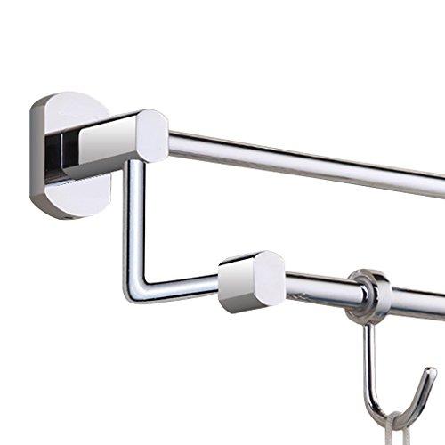 ZHEN GUO Moderner Chrom-Handtuchhalter an der Wand befestigte doppelte Schienen schraubte Halter W/2 Haken Messingaufhänger-Badezimmer/Küche/Toilette Zahnstange (größe : 80cm) (Befestigte Badezimmer Wand Doppelte Der)