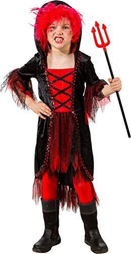 Dress Elf Fancy Cute Kostüm - Girls Hooded Red Black Devil Witch Halloween Horror Spooky Cute Fancy Dress Costume Outfit (10-12 years (EU 152cm))