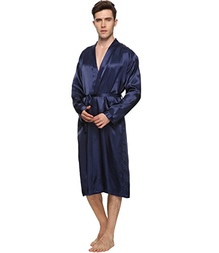 Herren Satin Kimono Robe Morgenmantel Lange Bademantel Marine