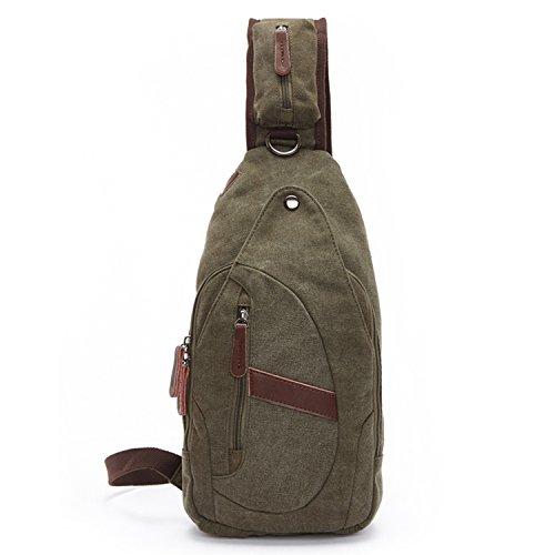 Outreo Borse Uomo Petto Tracolla Piccolo Borsa a Spalla Vintage Tasca di Tela Militare Tasche per Sport Viaggio Canvas Chest Bag Outdoor Borsello Marsupio Trekking Verde