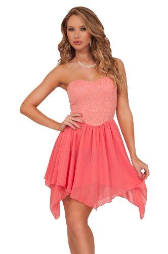 trägerloses luftig leichtes Glitzer Chiffon Frühlings Party Ballerina Mini Kleid Koralle