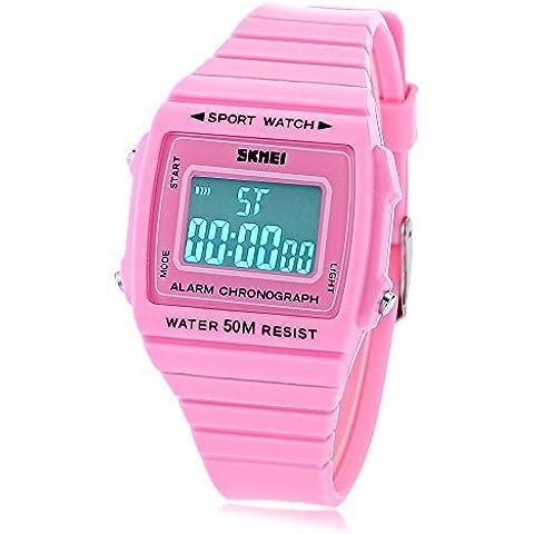 Leopard Shop Skmei 1136Unisex Reloj digital deportivo Alarma LED luminoso fecha Display banda de goma 50m resistente al agua reloj de pulsera Rosa