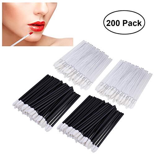 PIXNOR Einweg-Lippe Lippenpinsel 200pcs Bürsten Lippenstift Gloss Zauberstäbe Applikator Make-up Tool-Kits - 100pcs schwarz und 100pcs weiß -