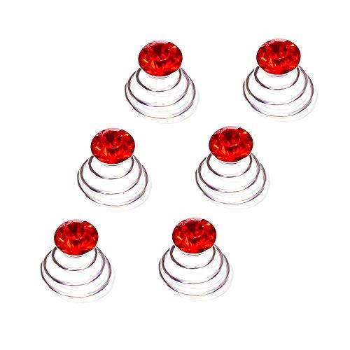Autiga Haar Curlies Kristall Haarspiralen Haarcurlies Hochzeit Braut Haarschmuck versilbert Kommunion rot 12er Set