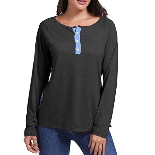 Damenbekleidung, Malloom Frauen-beiläufige O Hals Verlieren Patchwork-Knopf-Lange Hülsen-Blusent-Shirt Oberteile Lange Ärmel