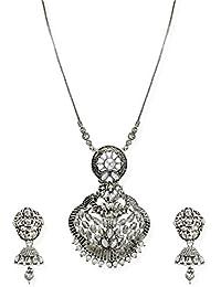 Zaveri Pearls Antique Silver Tone Goddess Temple Necklace Set For Women-ZPFK6743