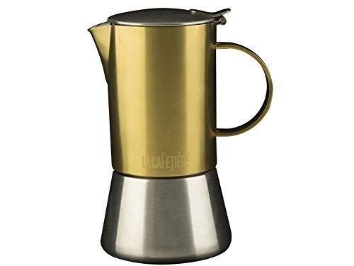 La Cafetière Edited 4-Tassen-Espressokocher für den Herd, in gebürstetem Gold, für Induktionskochfelder geeignet, 200 ml (7 fl oz) -