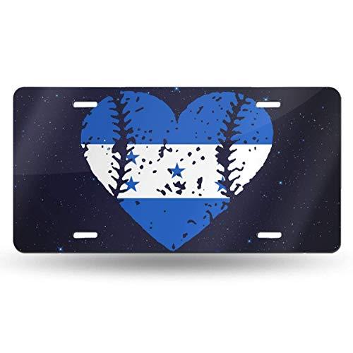 mchmcgm Baseball Heart Honduras Flag Nummernschilder Front Plate 6