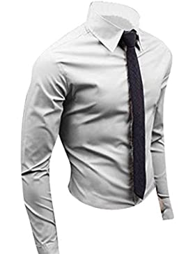 Jeansian Uomo Camicie Maniche Lunghe Moda Men Shirts Slim Fit Casual Long Sleves Fashion 8504
