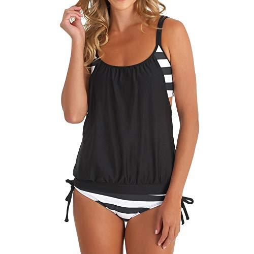 Lonshell Damen Padded Bikini-Set Streifen Zweiteilig Swimwear Bademode Beachwear Sport Push Up Badeanzug Tankini mit Shorts Strand Sportlich Schwimmanzug mit Bikinislip