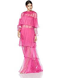 Rina Dhaka Sheer Ruffled Maxi Dress with Fluted Sleeves
