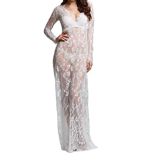 nilover Damen Umstandsmode langes Kleid siehe durch Spitze Sexy Fotografie Maxi Kleid 11Farben S X L Gr. XXXX-Large, (Frauen Asiatische Kostüm Für)
