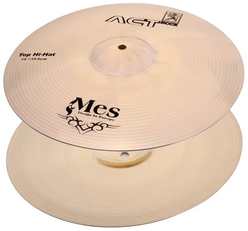 """MES 14"""" HiHat Becken Set für Schlagzeug (Act Series Drum Becken, Material: Bronze, gehämmert)"""