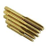 HoganeyVan 5 stücke m3 / m4 / m5 / m6 / m8 hss titanium überzogene maschine gerade geriffelte gewinde metrische stecker handgewindebohrer set handwerkzeuge