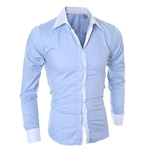 Camicia Jeans Uomo T-shirt Slim Fit Manica Lunga,Yanhoo Fashion Personality Men's Casual Slim Long-sleeved Shirt Top Blouse Blu