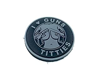 I ? Guns & Titties Gris PVC Airsoft Moral Patch