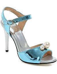 AgooLar Mujeres Hebilla Peep Tacón ancho Sólido Sandalia con Joyas, Azul, 32