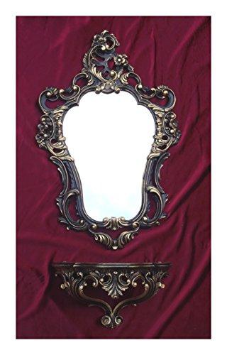 2-teiliges Set in Schwarz Gold Dualcolor bestehend aus Wandspiegel + Wandkonsole Oval Barock Antik 50x76cm Flur Eingangsmöbel Möbel Konsole Ablage Spiegel + Wandregal - Konsole Wandspiegel