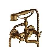 Vasca rubinetti a parete per vasca da bagno con doccetta, Clawfoot vasca rubinetto in ottone antico in ottone