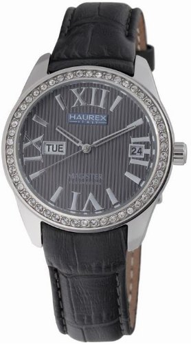 Haurex Italy Ladies Watch FS356DG1 Magister L with Grey Dial and Grey Leather Strap