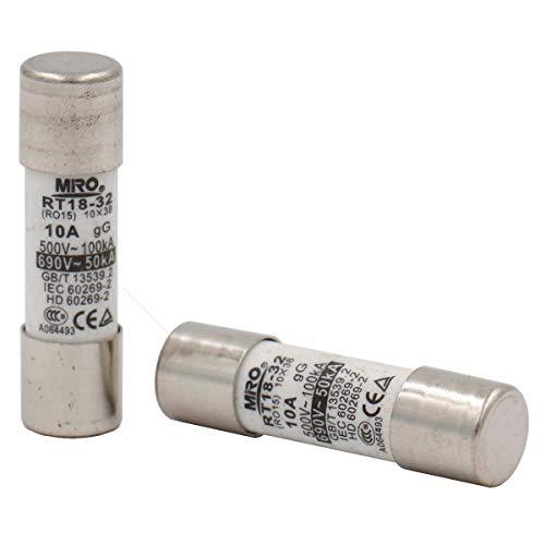 10 Stück Heschen Keramikrohr-Sicherungsstutzen RT18-32 (RO15) 10 x 38 mm 10A 500V CE TüV -