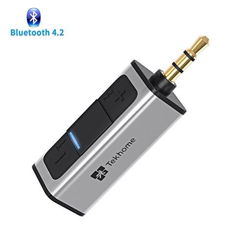 Preisvergleich Produktbild 4.2 Bluetooth Empfänger Aux,  TekHome Bluetooth Adapter Auto,  Bluetooth Adapter Audio für Kfz Auto Kopfhörer Lautsprechersystem Stereoanlage,  Bloototh Adapter Autoradio,  3.5mm Aux-in,  Silber.