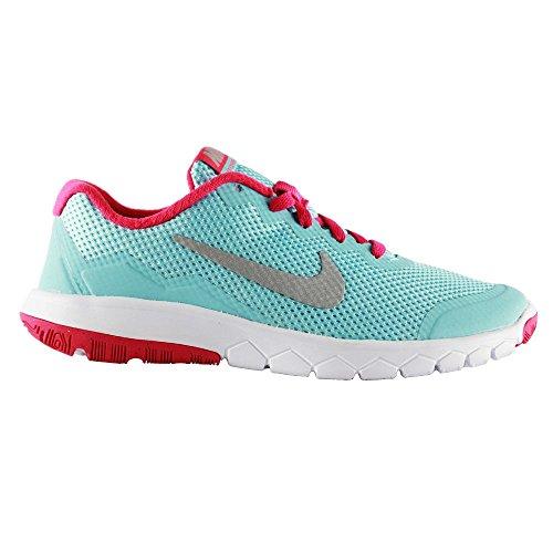 Nike Flex Experience 4 (Gs), Chaussures de course mixte enfant Azul / Plateado / Rosa / Blanco (Copa / Mtllc Slvr-Vvd Pnk-White)