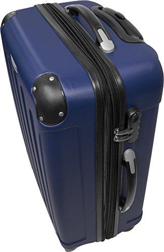 ABS Hartschalen Kofferset 3-tlg. mit vier Leichtlaufrädern Dunkelblau
