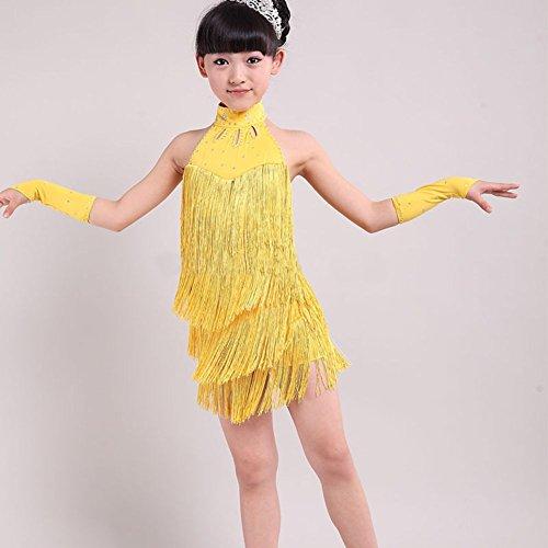 Doubleer Kind Mädchen Latin Kleid Quaste Ärmellos Kinder Tanzkleid Tanzbekleidung Performance (Dance Kostüme Kinder Uk)