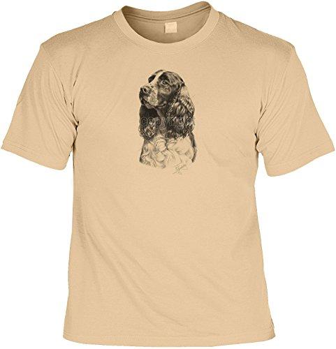 Hunde Shirt/ T-Shirt mit Dog Aufdruck: Springer Spaniel - tolles Tier-Motiv für Hundefreunde Sand