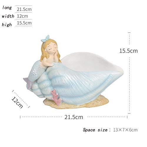 Yqzq- Statue Nordic Meerjungfrau Ornamente Skulptur, Hausfiguren Ornamente, Wohnzimmer Couchtisch Dekorative Sammlerstücke Dekorationen, Schlüssel Süßigkeiten Trockenfrüchte Snacks Lagerung Kreative M -