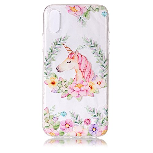 inShang iPhone X 5.8inch custodia cover del cellulare, Anti Slip, ultra sottile e leggero, custodia morbido realizzata in materiale del TPU, frosted shell , conveniente cell phone case per iPhone X 5. Wreath unicorn