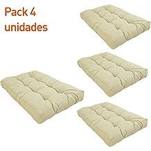 Pack 4 cojines asiento para palet   Tamaño: 80x120x16 cm   Color crema   Repelente al agua   Portes gratis
