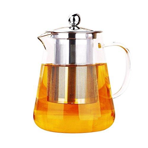 ONE DAY Glas-Teekanne mit Tee-Ei, für Blütentee und lose Teeblätter