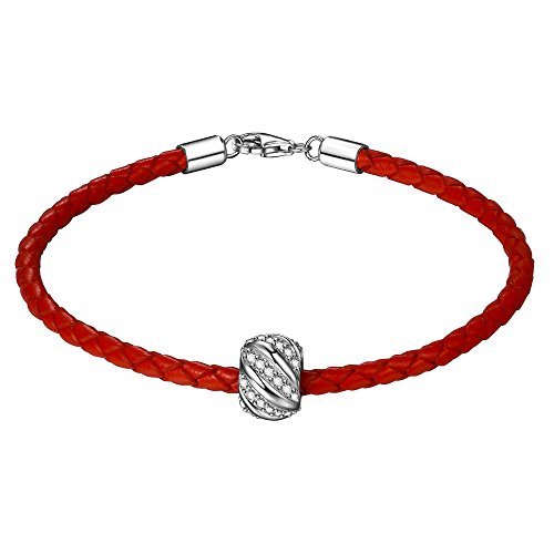 Leather Bracelet Girl Woman with Silver Charm 19 cm Red Rot Armband